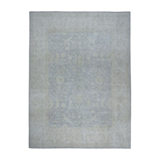 "Shahbanu Rugs White Wash Peshawar Pure Wool Hand-Knotted Oriental Rug (10'3"" x 13'9"") - 10'3"" x 13'9"""