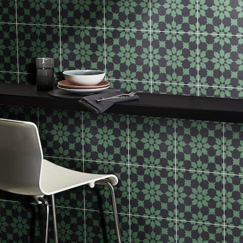 Handmade Ahfir in Green and Black Tile, Pack of 12 (Morocco)