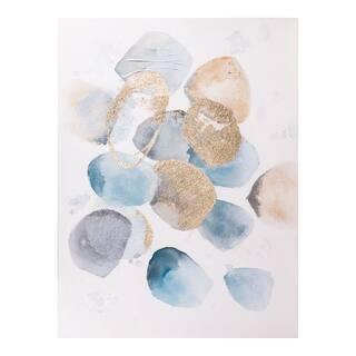 Aurelle Home Roca Modern Abstract Blue/Gold Wall Decor