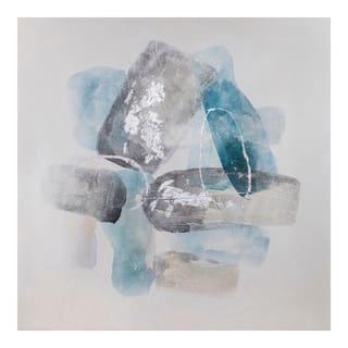Aurelle Home Roca Modern Abstract Blue and Grey Wall Decor
