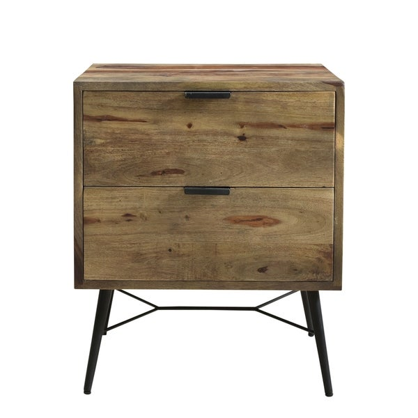 Aurelle Home Rustic Solid Wood and Iron 2-drawer Nightstand