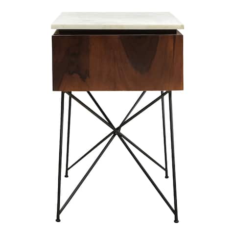 Aurelle Home Solid Wood Modern Nightstand with Marble Top