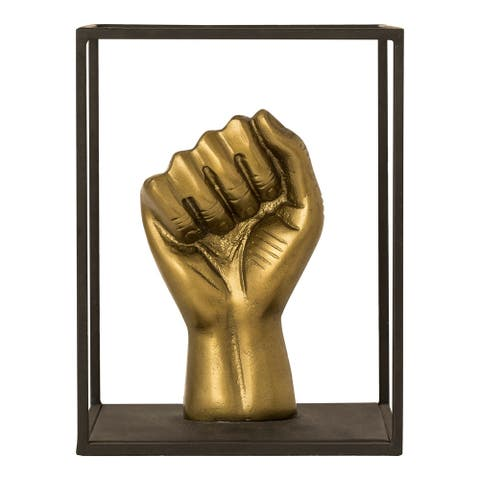 Aurelle Home Industrial Bronze Fist Statue