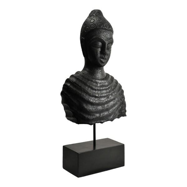 Aurelle Home Rustic Buddha Black Mango Wood Statue