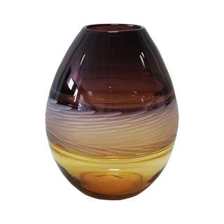 Aurelle Home Handcrafted Amber Glass Modern Vase