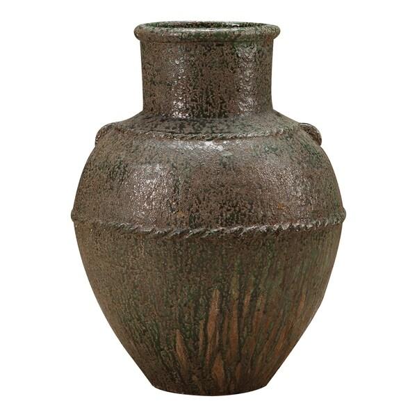 Aurelle Home Green Large Terracotta Rustic Vase