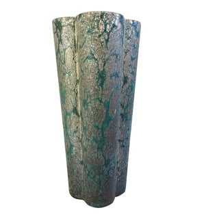 Aurelle Home Blue/Grey Textured Glass Handmade Modern Vase