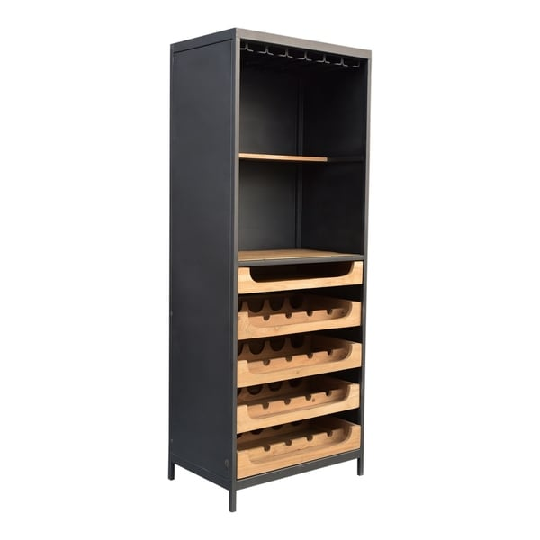 Aurelle Home Solid Wood and Iron Wine Cabinet