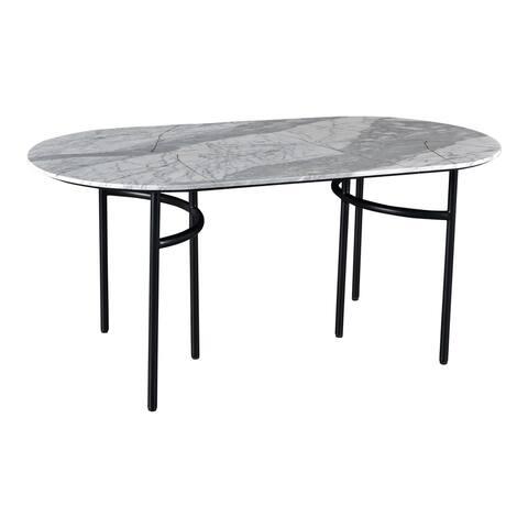 "Aurelle Home Silta Marble Top Modern Dining Table - White - 30"" x 69"" x 35.5"""