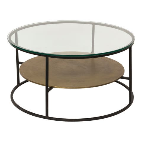 Aurelle Home Modern Glass Top Coffee Table with Shelf