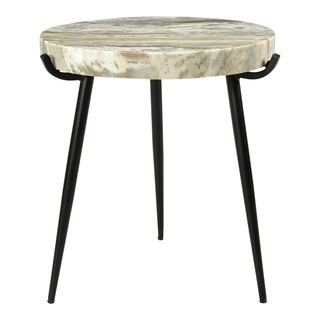Aurelle Home Marble and Iron Modern Accent Table