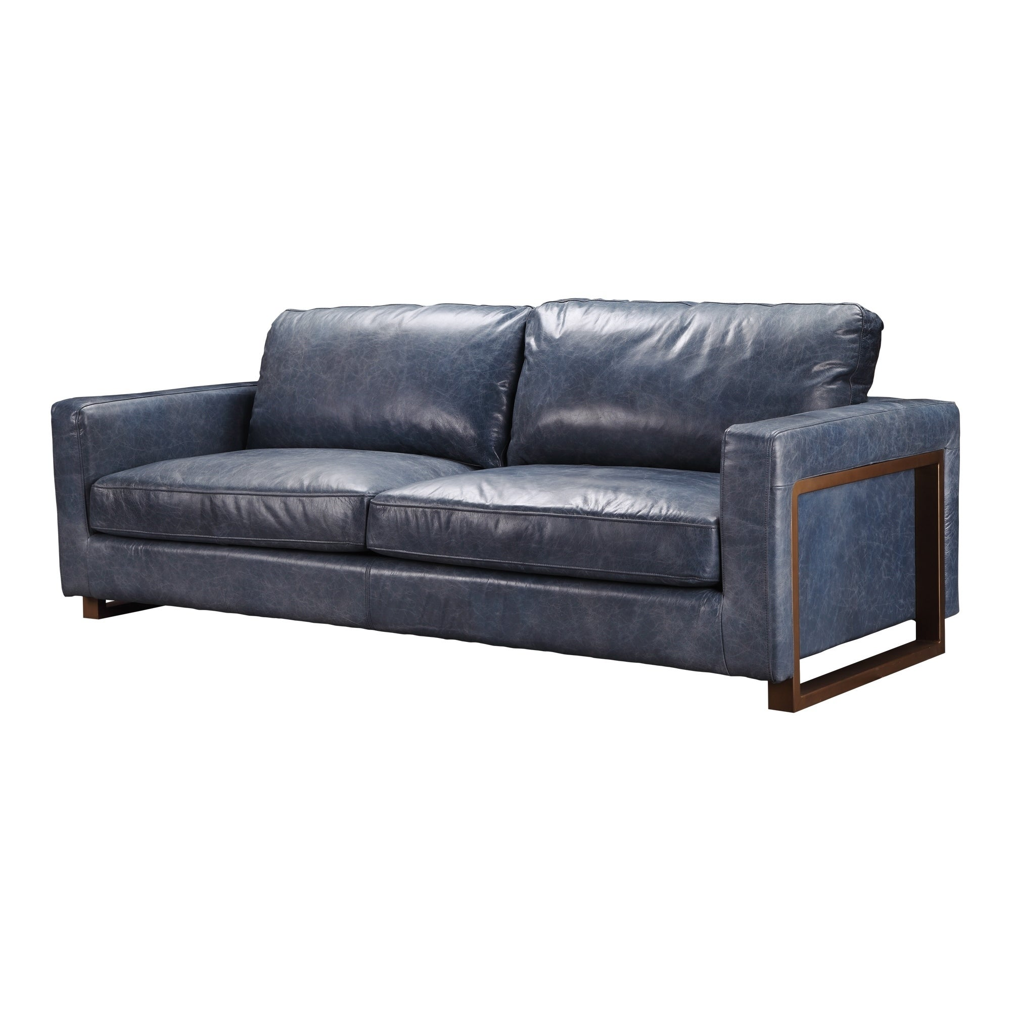 Aurelle Home Navy Blue Leather and Iron Modern Sofa