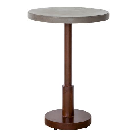 Aurelle Home Ocha Outdoor Concrete Top Steel Base Modern Bar Table