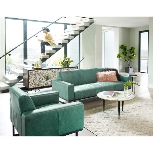 Aurelle Home Brody Modern Leather Sofa. Opens flyout.