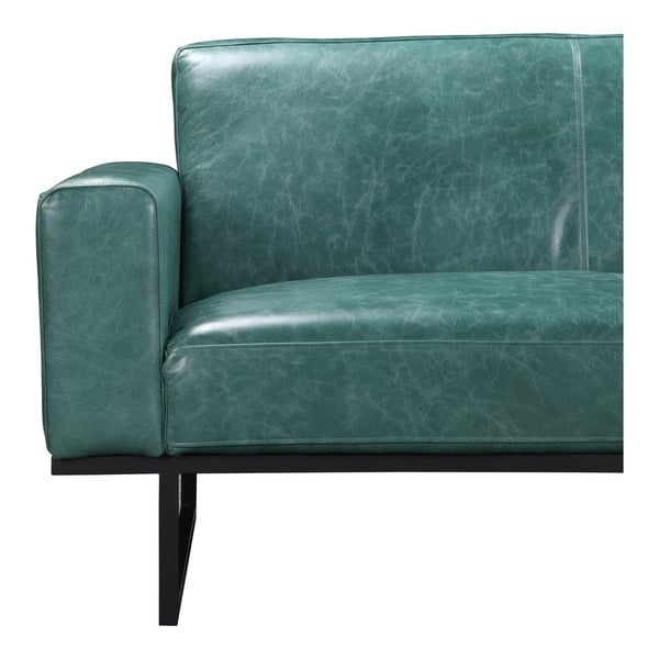 Pleasant Shop Aurelle Home Brody Green Leather Wide Seat Sofa On Gmtry Best Dining Table And Chair Ideas Images Gmtryco