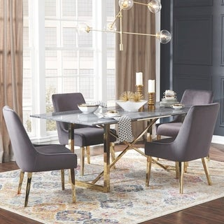 Modern Design Gold Frame Marble Top and Grey Velvet Chairs Dining Set
