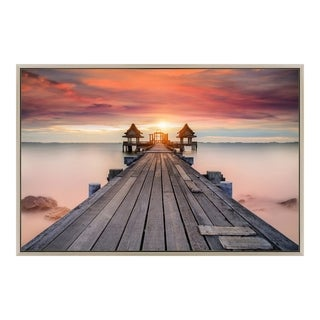 Aurelle Home Modern Sunset on Glass Wall Decor
