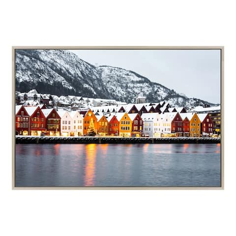 Aurelle Home Modern Snowy Scene on Glass Wall Decor