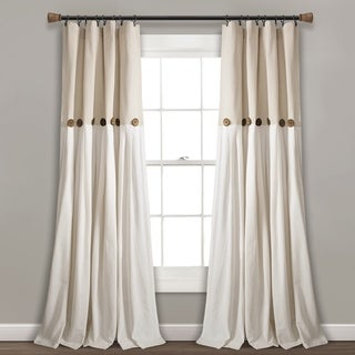 "Lush Decor Linen Button Window Curtain Single Panel 95""L x 40""W In Navy/White (As Is Item)"