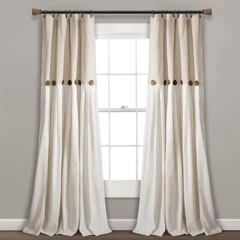 Lush Decor Linen Button Window Curtain Single Panel