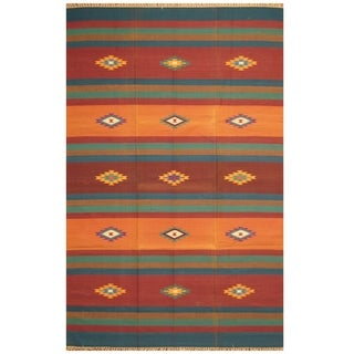Handmade One-of-a-Kind Wool Kilim (India) - 5'10 x 9'1