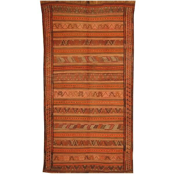 Handmade One-of-a-Kind Soumak Wool Kilim (Afghanistan) - 4'10 x 9'1