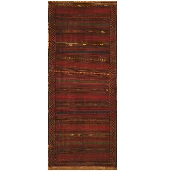 Handmade One-of-a-Kind Shiraz Kashgahi Wool Kilim (Iran) - 4' x 9'7
