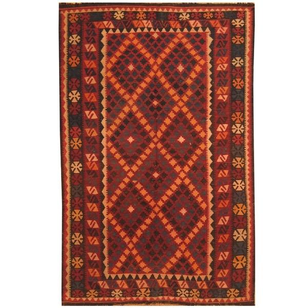 Handmade One-of-a-Kind Mimana Wool Kilim (Afghanistan) - 5'2 x 8'