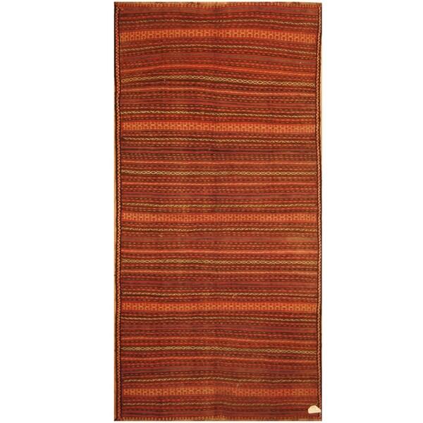 Handmade One-of-a-Kind Soumak Wool Kilim (Afghanistan) - 4'9 x 9'9