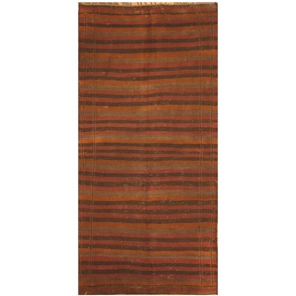 Handmade One-of-a-Kind Shiraz Kashgahi Wool Kilim (Iran) - 4'2 x 8'5