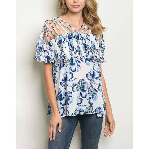 JED Women's Strappy Floral Layered Style Top