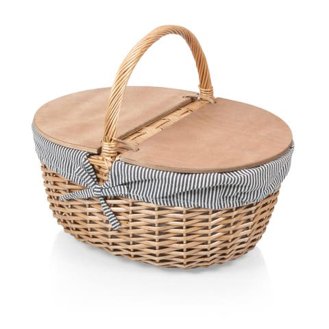Country Picnic Basket, (Navy & White Stripes)