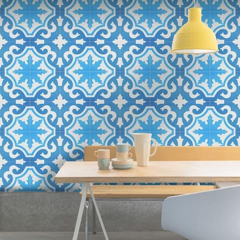 Handmade Tanger in Two Toned Blue Tile, Pack of 12 (Morocco)