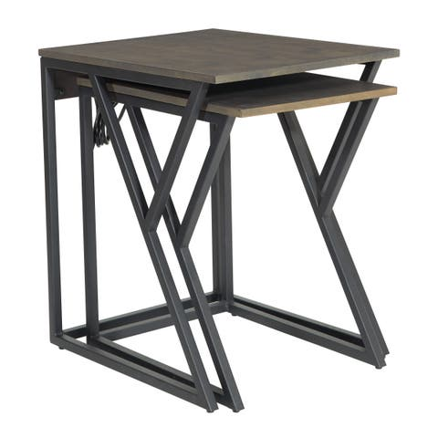 OSP Home Furnishings Segovia Nesting Tables with Power Port Charging Station