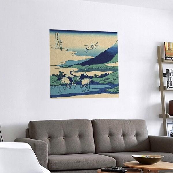 Porch & Den Katsushika Hokusai 'Japanese Cranes' Removable Art Decal. Opens flyout.
