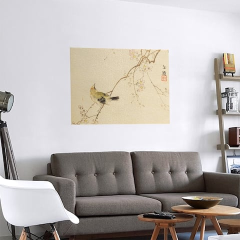 Porch & Den Keito Sato 'Vintage Japanese Bird and Blossoms Watercolor' Removable Art Decal