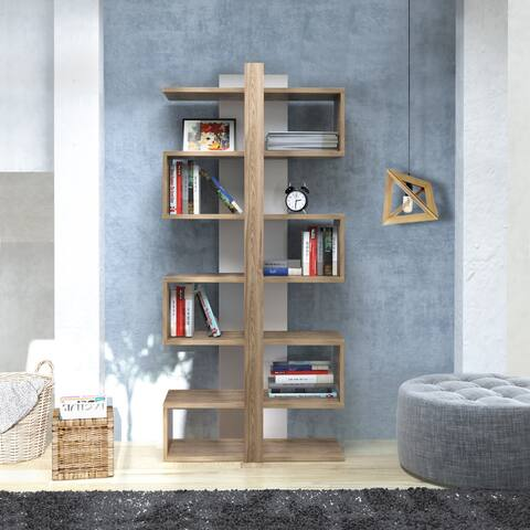 Decorotika Ionis 5 ft. Modern Floating Symmetrical Cubic Bookshelf - Bookcase - Shelving Unit - 67 inch