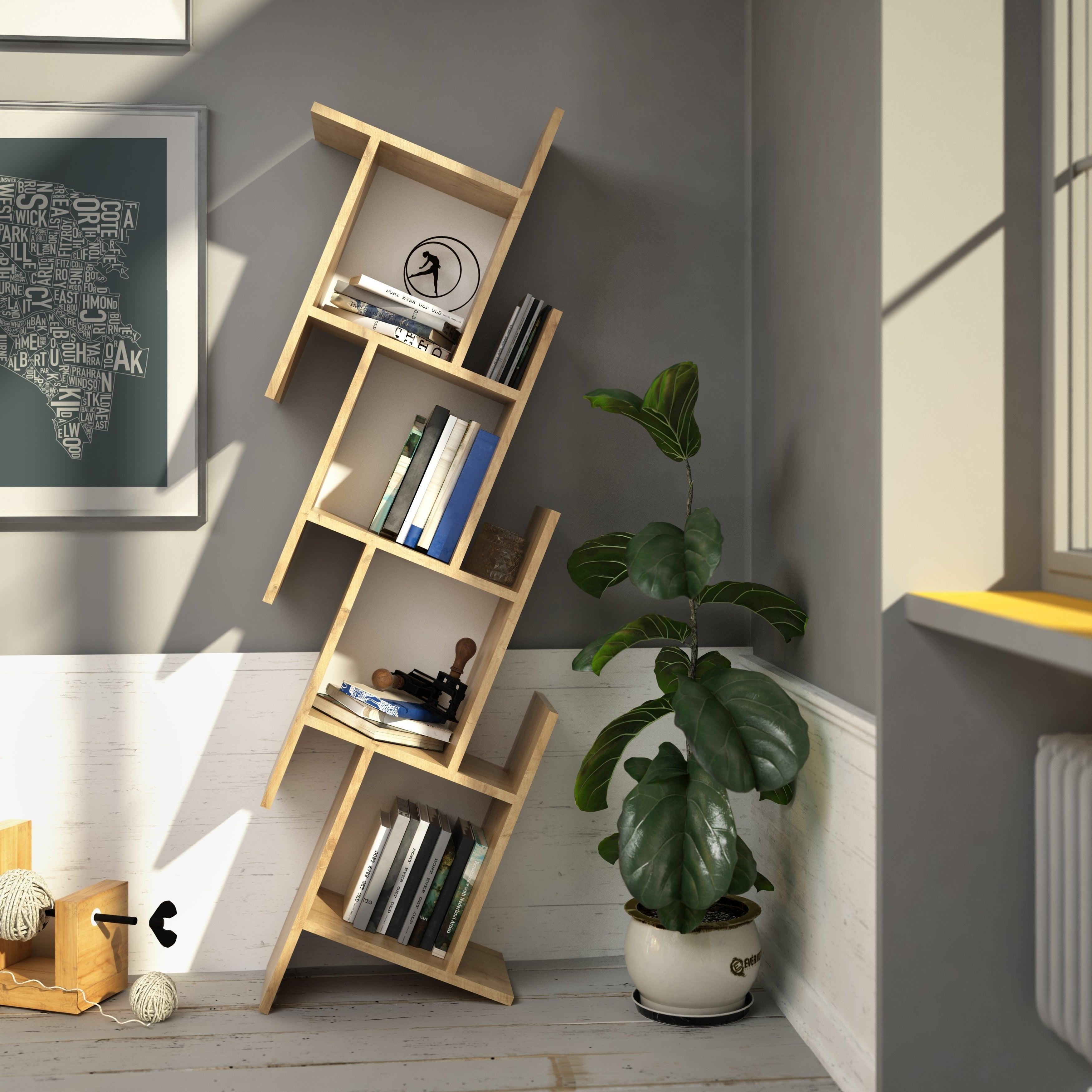 Decorotika Broadway 5 Ft Modern Floating Asymmetrical Cubic Bookshelf Bookcase Shelving Unit With Color Options 63 Inch