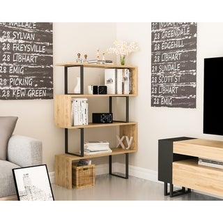 Decorotika Adriana 4-tier Geometric Modern Industrial Etagere Bookcase Bookshelf Shelving Unit
