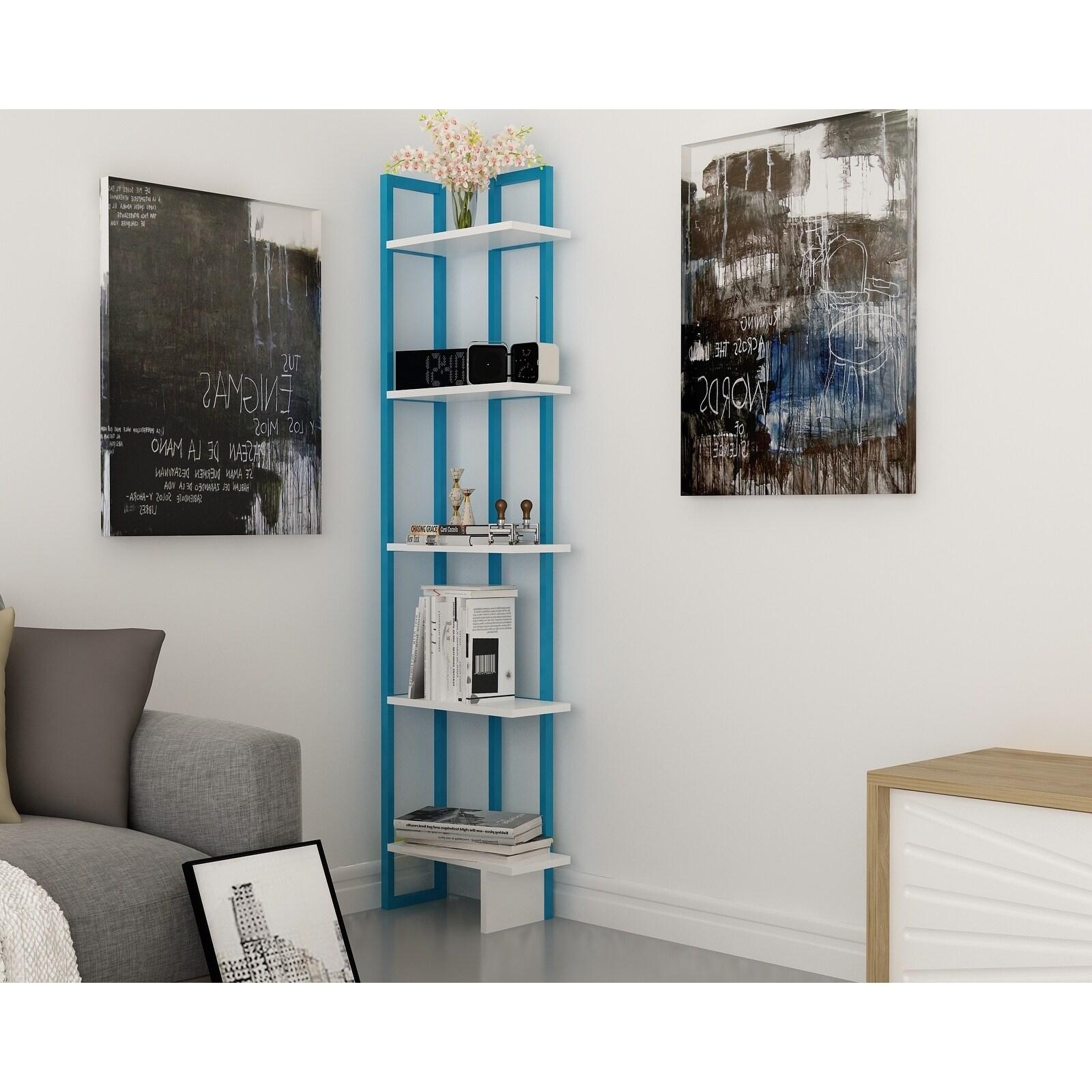 Carbon Loft Galina 5 Shelf Metal Frame Corner Bookshelf