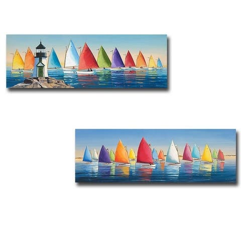 After the Races & Flying Colors 2-pc Gallery Wrapped Canvas Giclee Art Set (12 in x 36 in Each Canvas in Set)
