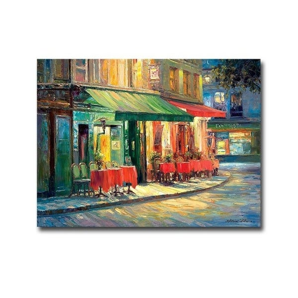 Haixia Liu 'Red and Green Cafe' Gallery-wrapped Canvas Giclee Art - 24 x 32. Opens flyout.