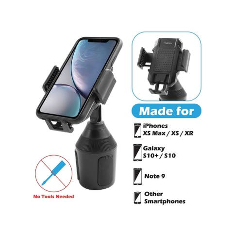 "Insten Universal Adjustable Phone Mount Cup Holder for iPhone XS Max/ XR/ Samsung Note 9 - 1.77"" Tall"