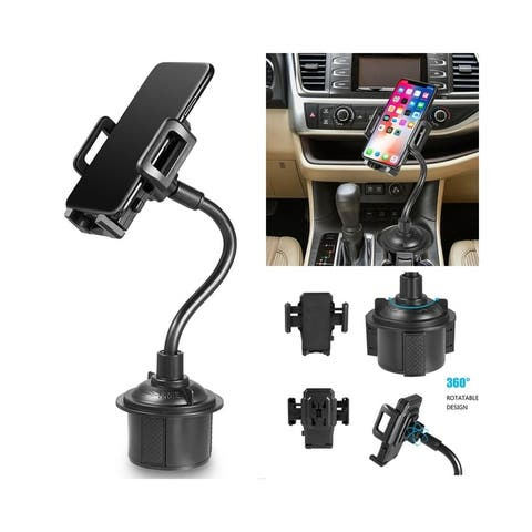 """Insten Universal Cup Holder Car Mount with Long Adjustable Arm and Rotatable Cradle - Quick Release Button - 11"""" Tall"""
