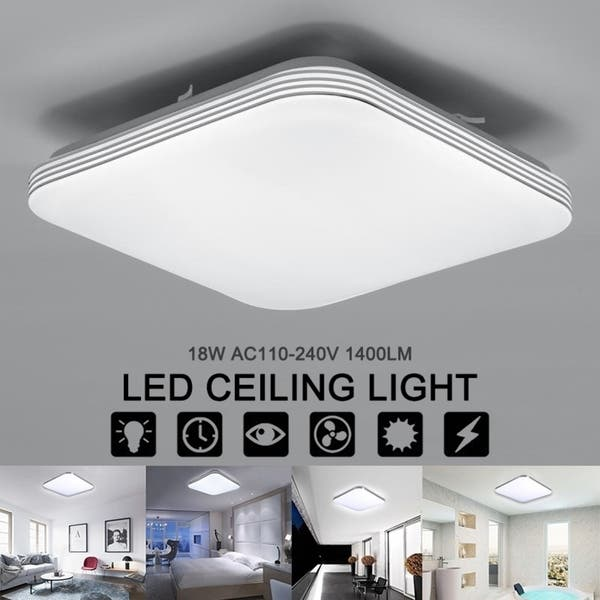 Square 18w 1400lm Energy Efficient Led Ceiling Lights Modern Flush Mount Fixture Lamp Lighting For Kitchen Bathroom Dining Room Overstock 28240381