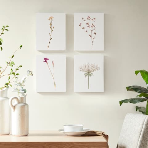 Madison Park Petite Floral Linen Printed Linen Oblong Canvas 4 Piece Set - White