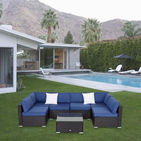 Kinbor Patio Furniture Set Outdoor Sectional Sofa All-Weather Wicker Conversation Set
