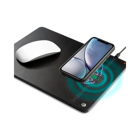 Cobble Pro Black 2 in 1 Synthetic Leather Mouse Pad with Wireless Charging Function for iPhone XS Max/ XR/Samsung Galaxy S10