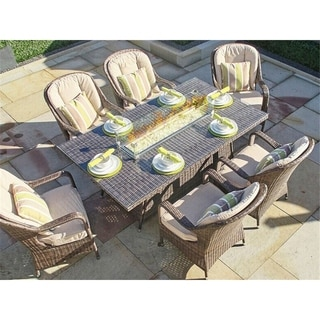 Outdoor 7 Piece Patio Wicker Gas Fire Pit Set Rectangular Table with Arm Chairs by Direct Wicker - N/A
