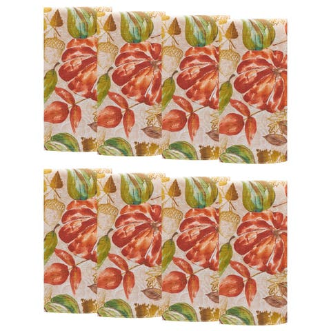 "Gourd Gathering Fall Printed Napkins, Set of 8 - 17"" x 17"""